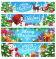 merry christmas banners cartoon santa claus vector image
