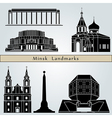 Minsk landmarks and monuments vector image vector image