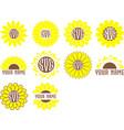 monogram frames sunflower set flowers art vector image