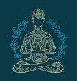 ornament beautiful card with yoga man geometric