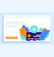 plus button and credit card stock for landing vector image vector image