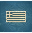 Retro Greece Flag Postage Stamp vector image