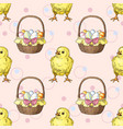 seamless pattern with easter baskets with eggs and vector image