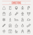 set new year and christmas thin line icons vector image