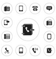set of 12 editable phone icons includes symbols vector image