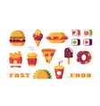 set various type fast food vector image