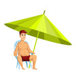summer beach activities guy sitting on a chair vector image