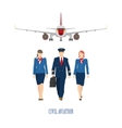 The pilot and a flight attendant vector image