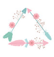 triangular bohemian frame with arrow feathers and vector image vector image