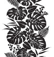 tropical leaves silhouette pattern vector image