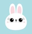 white bunny rabbit hare face head round icon big vector image vector image
