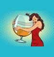 woman hugging a glass of wine vector image vector image