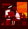 woman night office business female characters vector image vector image