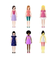 Six young girls flat style icon people vector image