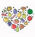 tasty fruits organic vegetables and sweet berries vector image