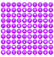 100 construction site icons set purple vector image vector image