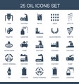 25 oil icons vector image vector image