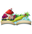 a fairy tale house on open book vector image