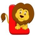 Alphabet L with lion cartoon vector image vector image
