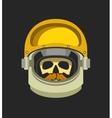 Astronauts helmet with a dead man