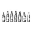 beer bottles sketch icons set vector image vector image
