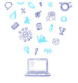 business doodle icons flying out laptop vector image