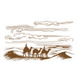camels are on the desert vector image vector image