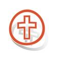 Christian cross sign sticker orange vector image vector image
