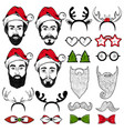 christmas hipster faces set vector image vector image