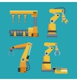collection automated robotic industrial equipment vector image vector image
