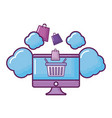 computer with clouds and shopping basket vector image vector image