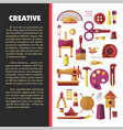 creative activity hobby and handmade craft tools vector image vector image