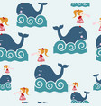 cute girl on the whale cartoon seamless pattern vector image