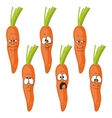 Emotion cartoon carrot vegetables set 009 vector image vector image