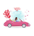 fashion young woman in a car with gifts and red vector image vector image