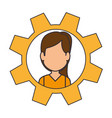 gear with woman face icon vector image vector image