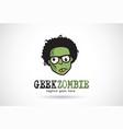 geek zombie logo template design emblem design vector image
