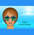 girl in stars sunglasses vector image vector image