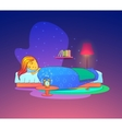 Girl or woman sleeping dreaming in bed vector image