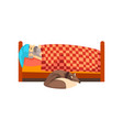 grandpa sleeping in his bed the dog lying beside vector image vector image