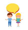 happy boy and girl speech bubble vector image vector image