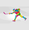 hockey player abstract color silhouette vector image