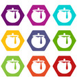 honey pot icon set color hexahedron vector image vector image