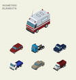 isometric car set of auto suv truck and other vector image vector image