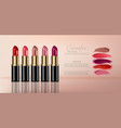 lipstick sets with smear realistic 3d mock up vector image vector image