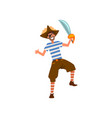 man dressed in pirate costume at carnival party vector image