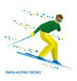 para-alpine skiing sportsman ski slope down vector image vector image