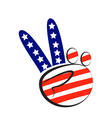 Peace symbol hand with USA flag logo vector image