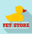 pet store wash duck logo flat style vector image vector image