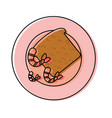 plate with bread and shrimp vector image vector image